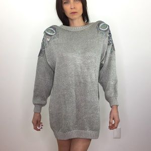 Vintage 80's Silver Metallic Long Sweater Tunic